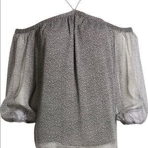 1. State off the shoulder chiffon top